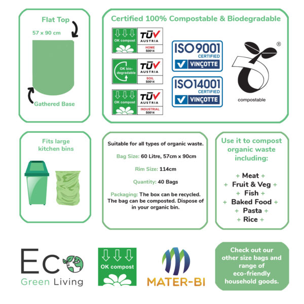 60 litre bin bag dimensions and certifications